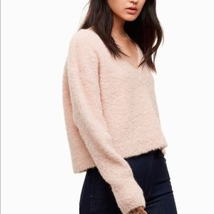Aritzia Wilfred Cropped Pink Fuzzy Sweater